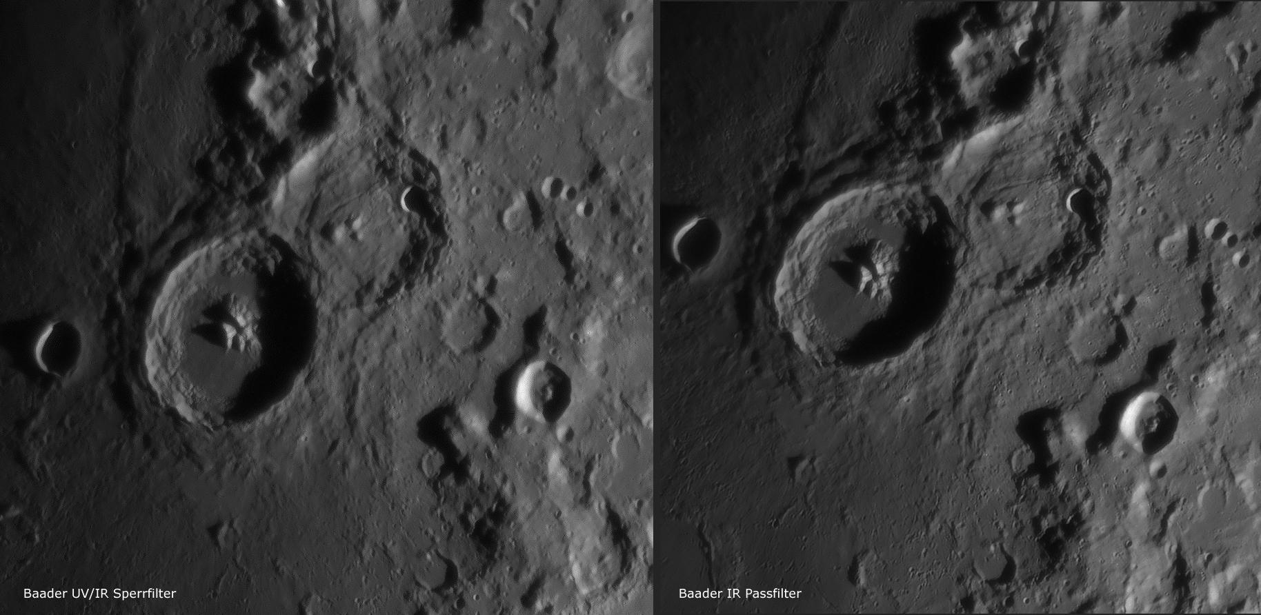 Theophilus und Cyrillus UV/IR Sperrfilter zu IR Passfilter von Baader Planetarium