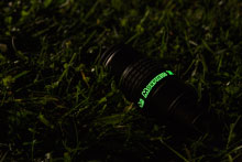 Morpheus with luminescent lettering lying in the Grass