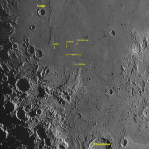 Mond-Mosaik Ausschnitt: Kleinkrater Aldrin (3,4 km Ø), Collins (2,4 km Ø) und Armstrong (4,6 km Ø )