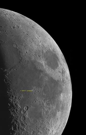 Mond-Mosaik mit Apollo Landeplatz