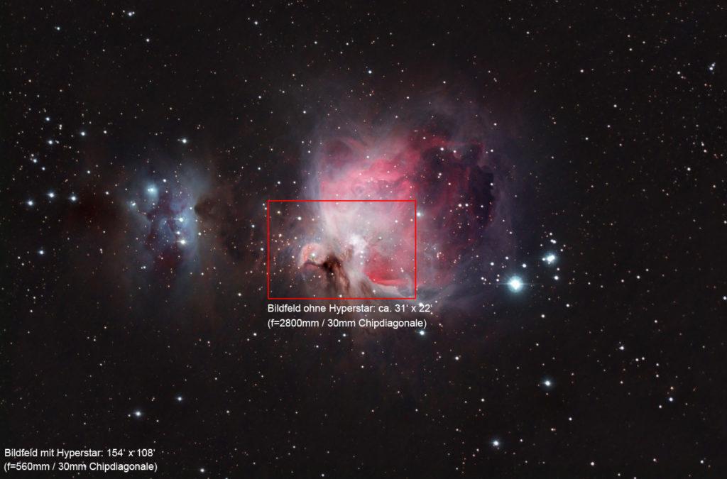 Orionnebel ohne und mit Hyperstar