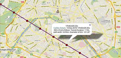 Kartenausschnitt einer Transitlinie