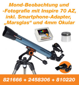 Mond-Beobachtung und Fotografie mit Inspire, inkl. Smartphone-Adaper, Marsglas und 4mm Okular