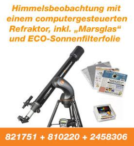 Himmelsbeobachtung mit einem computergesteuerten Refraktor, inkl. Marsglas und ECO-Sonnenfilterfolie