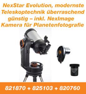 NexStar Evoluiton, modernste Teleskoptechnik überraschand günstig - inkl. NexImage Kamera für Planetenfotografie