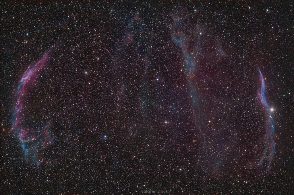 The Cirrus-Nebula in Cygnus. The area fits completely onto an APS-C-sensor when used with the RASA 8. The exposure time is ca. 70 minutes (141 x 30 s) with a Fujifilm X-T3 (ISO 800) and a Celestron RASA 8. The image was taken at Spicherer Höhe close to Saarbrücken in Germany.