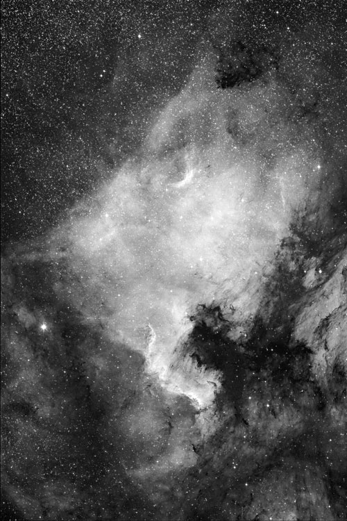 NGC 7000 with RASA 8, ca. 1 hour exposure time. With Baader Highspeed 7nm H-alpha filter and CCD camera.