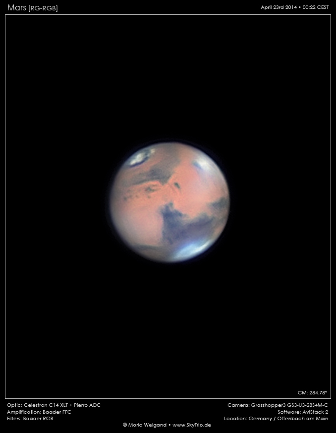 In April 2014 Mario Weigand (Skytrip.de) took this close-up of Mars – with a C14 and the Baader FFC.