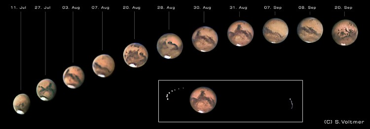 The photographs by Sebastian Voltmer (weltraum.com) show the view of Mars from July to September 2003.