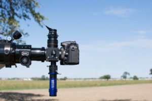 The back focus of DSLR and guiding camera sets the distances – here, we need a T-2-extension for the DSLR.