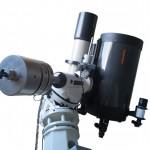 Das Aufnahmeinstrument - der 150mm Zeiss APQ Refraktor und ein Celestron C14 auf einer Astro Physics 1200 GTO Montierung in einer 4 Meter Kuppel