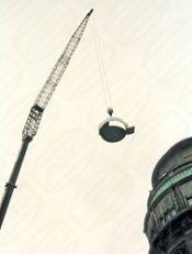 Baader Kuppel Montage mit Baukran deutsches Museum