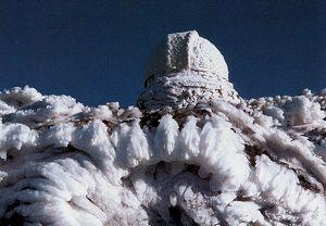 Baader Kuppel in 2000 Meter Höhe vereist in Kreta