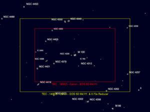 Vergleich der Bildfelder des TEC 140 (Canon 5D Mark III) mit originalem TEC Field Flattener und einem Reducer. (Quelle: astronomy:tools)