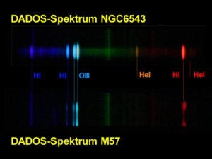 Spektren von NGC 6543 und M57