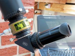 Für eine visuelle Beobachtung kann über ein T2 Standard Schnellwechelsystem (Astro T-2 System, Teil #6 und #7) direkt ein T2 Zenitspiegel oder ein T2 Zenitprisma angeschlossen werden