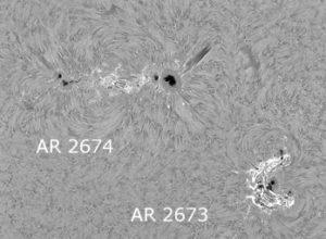 AR 2673 + AR 2674am 5. September in der H-alpha Linie
