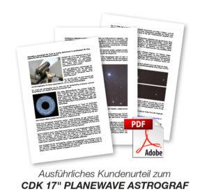 """Ausführliches Kundenurteil zum CDK 17"""" PlaneWave Astrograph von Dipl.-Ing Wolfgang Paech"""