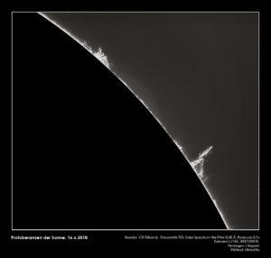 Protuberanzen der Sonne, Helmut Heinicke mit Baader C8 Triband