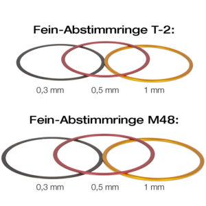 Baader T-2 und M48 Fein-Abstimmringe aus Aluminium