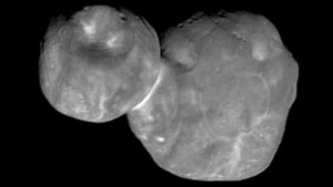 "The ""transneptunian"" Kuiper belt object (486958) 2014 MU 69 called ""Ultima Thule"". Size approx. 31 km total length, thickness is still questionable. Probably the larger part is quite flat (""pancake"") and the smaller one more shaped like a walnut. Image source: NASA (New Horizons Probe)"
