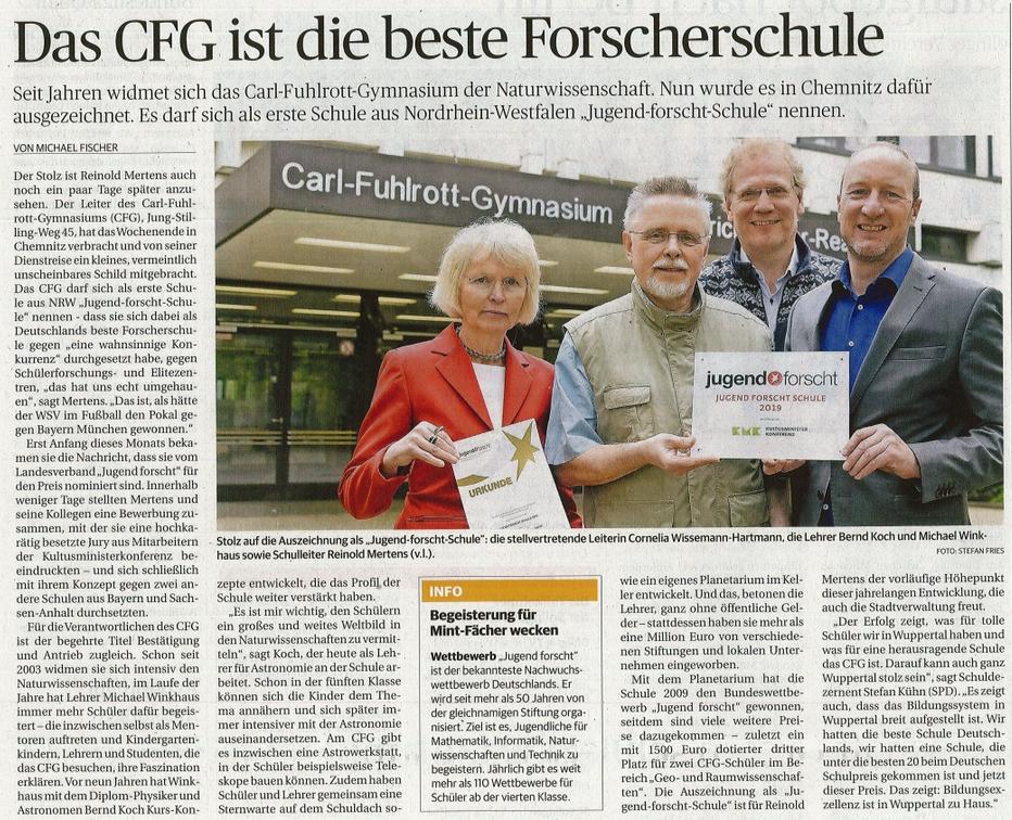 Bergische Morgenpost: Das CFG ist die beste Forscherschule