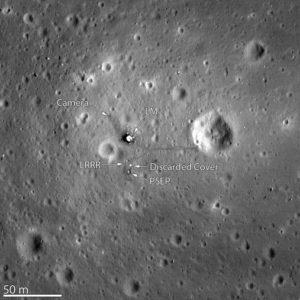 Traquility base, fotografiert aus dem Orbit von der LRO Sonde, @NASA
