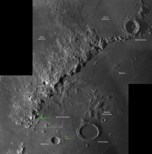 Das Landegebiet von Apollo 15 in der Übersicht mit dem Apenninen Gebirge, © 2019 by W. Paech+F. Hofmann – Camäleon Observatory, Namibia