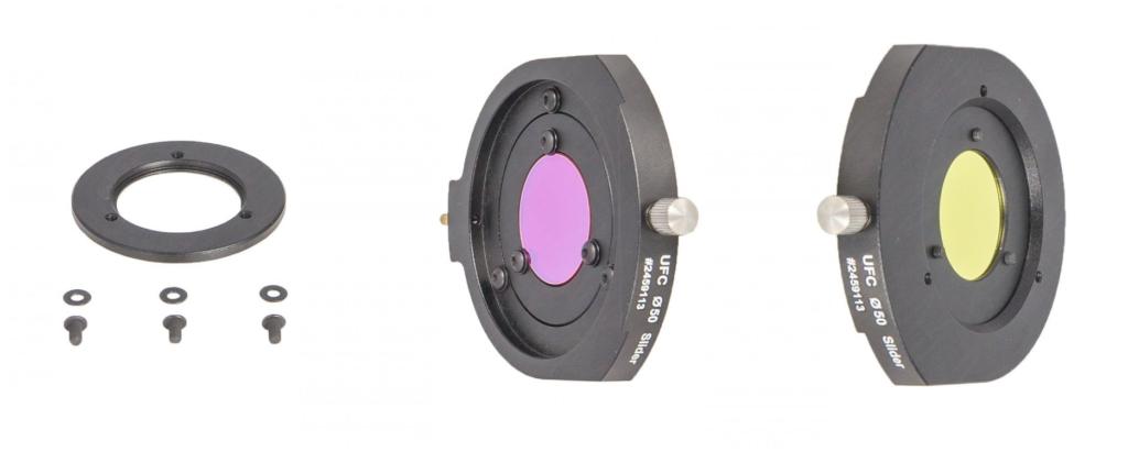 UFC AUX-Filterhalter für ungefasste 31mm bzw. 36mm Filter, wird in der D50.4mm Filterschublade befestigt.