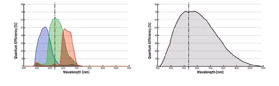 Quanteneffizienz des Sony CMOS Sensors ICM 428