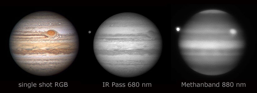 Das Bild zeigt den Planeten Jupiter in verschiedenen Spektralbereichen (alle Bilder aufgenommen im Primärfokus eines Celestron C14, Stacking 300/3.000 Bilder)