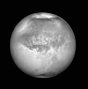 Mars, aufgenommen am 30. Juli 2018. Celestron C14, Baader IR Passfilter und SkyRis 445M. Quelle: W. Paech