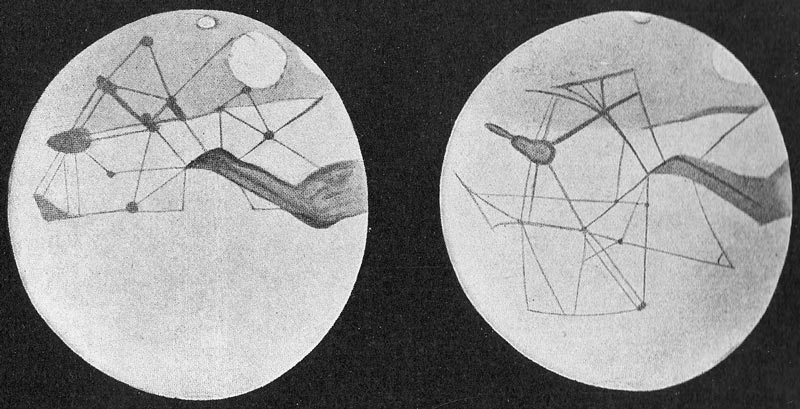 """Marszeichnungen von Lowell mit Kanalsystemen. Quelle: Quelle: W.Paech aus """"Mars and its Canals"""", 3. Auflage 1911"""