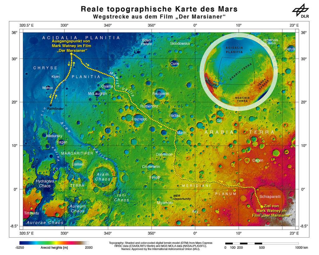 """Die reale topographische Karte des Mars zeigt die Wegstrecke von Mark Watney aus dem Film """"Der Marsianer"""". Quelle: ESA/DLR/FU Berlin"""