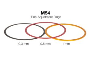M54 Fine-Adjustment-Ring-Set, consisting of 3 Precision M54 Alu-Adj.-Rings 0,3/0,5/1mm - with description