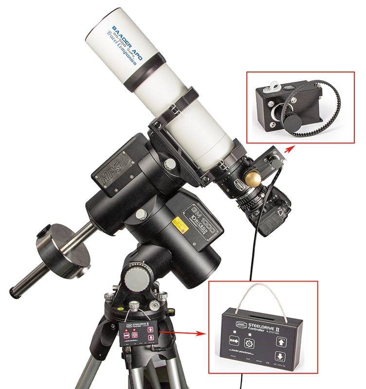 Baader Steeldrive II motor focuser with Controller, Baader BDS Diamond Steeltrack<sup>®</sup> and Nikon DSLR-camera attached to a Baader Apo 95/560 Travel Companion on a 10Micron GM 1000 HPS Mount